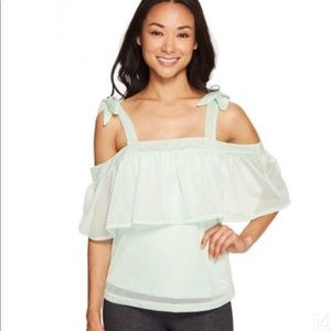 Puma Xtreme Off Shoulder Perforated Bow Top Shirt